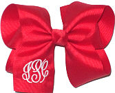 Large Red and White Iniitals Monogrammed Triple Initial Bow