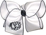 MEGA Black with White and Black Moonstitch Bow