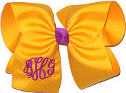 MEGA Magenta and Yellow Gold Triple Initial Monogram Bow