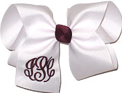 Large Maroon and White Triple Initial Monogram Bow