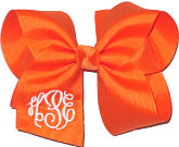 Large White and Orange Triple Initial Monogram Bow