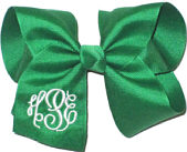 Large White and Emerald Triple Initial Monogram Bow