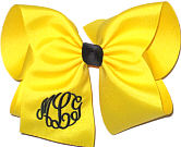 MEGA Black and Maize Triple Initial Monogram Bow