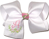 Downsized Large Pink Initial with Floral Monogram on White. Alligator Clip.