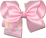 Large Pink Initial with Bow Monogram on Pink.Spring Clip Barrette.