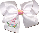 Large Pink Initial with Floral Monogram on White. Spring Clip Barrette.