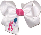Medium White with Hot Pink Mongrammed Letter and Turquoise Balloon