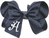 Navy and White Large Monogrammed Initial Bow with Swarovski Crystals