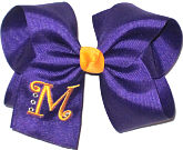 Regal Purple and Yellow Gold Large Monogrammed Initial Bow with Swarovski Crystals