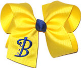 Century Blue Monogram on Maize Grosgrain with Rhinestones Monogrammed Initial