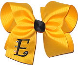 Yellow Gold and Black Large Monogrammed Initial Bow with Swarovski Crystals