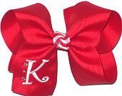 Red and White Large Monogrammed Initial Bow with Swarovski Crystals