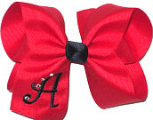 Red and Black Large Monogrammed Initial Bow with Swarovski Crystals