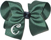 Forest Green and White with Navy Knot Large Monogrammed Initial Bow with Swarovski Crystals