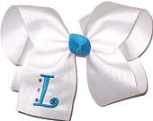 White and Turquoise Large Mongrammed Initial with Rhinestones Bow