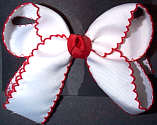 Medium Moonstitch Bow White with Red