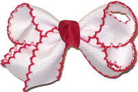Small Moonstitch Bow White and Red