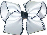 Large Moonstitch Bow White and Navy