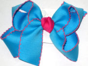 Medium Moonstitch Bow Island Blue and Shocking Pink