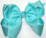 Large Moonstitch Bow Aqua and White