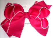 Large Moonstitch Bow Shocking Pink and White