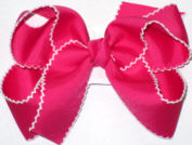 Medium Moonstitch Bow Shocking Pink and White