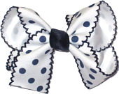Medium Moonstitch Bow White with Navy Moonstitch and Navy Dots