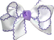 Small Moonstitch Bow White and Orchid