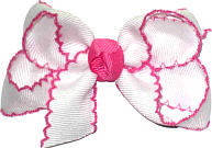 Small Moonstitch Bow White and Hot Pink