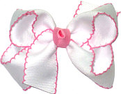 Medium Moonstitch Bow White and Pink
