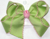 Medium Moonstitch Bow Lime Juice and Pink