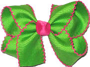 Medium Moonstitch Bow Apple Green and Shocking Pink