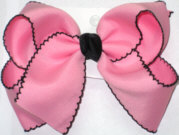 Large Moonstitch Bow Pink and Black