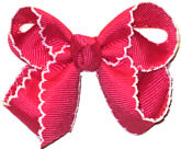 Small Moonstitch Bow Shocking Pink and White