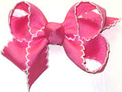 Small Moonstitch Bow Hot Pink and White