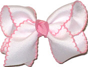 Toddler Moonstitch Bow White and Pink
