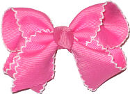 Toddler Moonstitch Bow Hot Pink and White