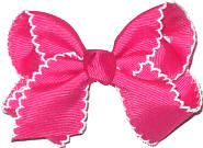 Toddler Moonstitch Bow Shocking Pink and White