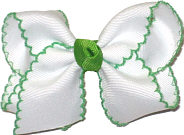 Toddler Moonstitch Bow White and Apple Green