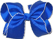 Large Moonstitch Bow Electric Blue and White