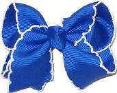 Toddler Moonstitch Bow Electric Blue and White