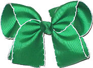 Large Moonstitch Bow Emerald and White
