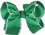 Medium Moonstitch Bow Emerald and White