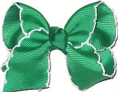 Toddler Moonstitch Bow Emerald and White