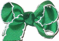 Small Moonstitch Bow Emerald and White