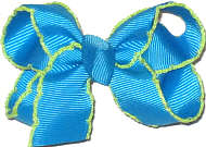 Small Moonstitch Bow Turquoise and Neon Green
