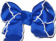 Small Moonstitch Bow Electric Blue and White