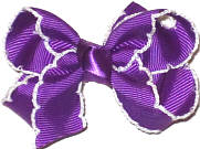Small Moonstitch Bow Grape and White