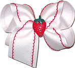 Large Moonstitch Bow White and Red with Strawberry Miniature