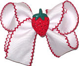 Medium Moonstitch Bow White and Red with Strawberry Miniature